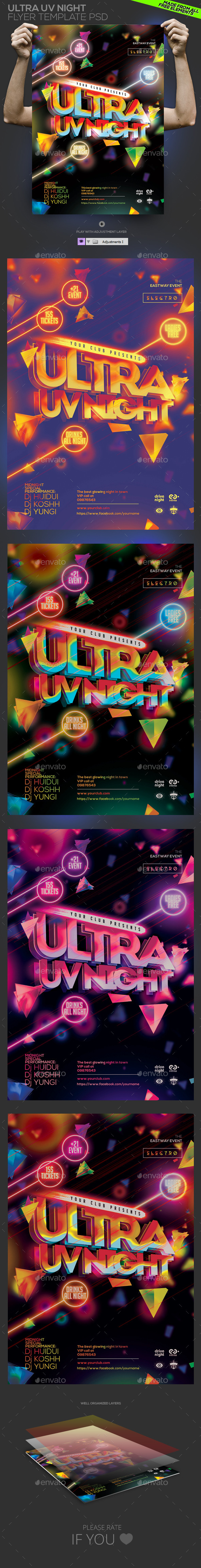 GraphicRiver Ultra UV Night Template PSD Flyer Poster 10867564