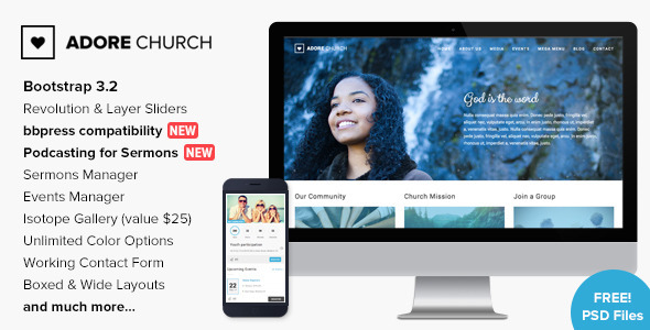 Adore Church - Responsive WordPress Theme