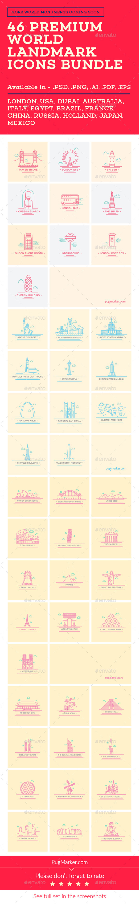 GraphicRiver World Landmark Icons Bundle Vol 1 2 3 4 10869022