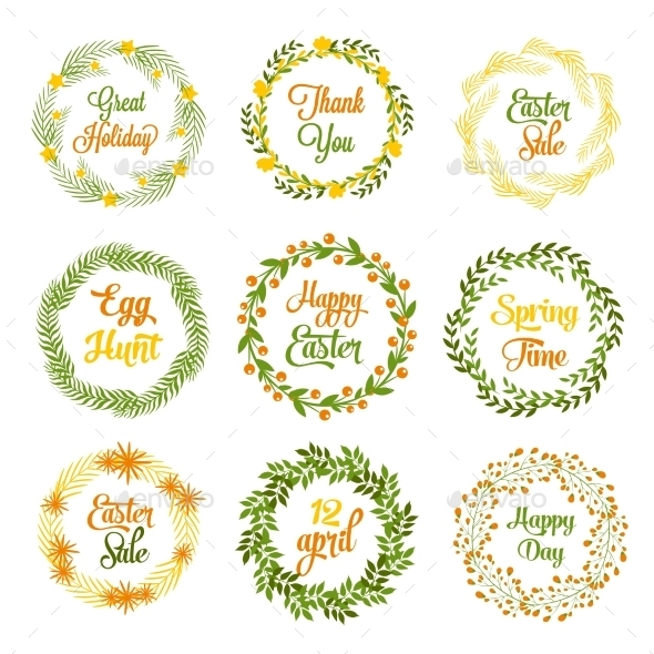 GraphicRiver Easter Wreaths 10869086