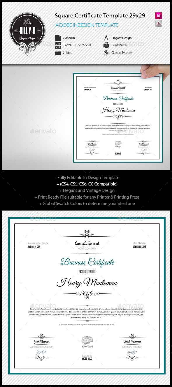 GraphicRiver Square Certificate Template 29x29 10869807