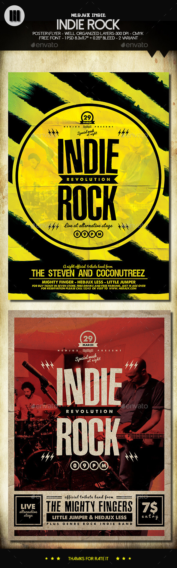 GraphicRiver Indie Rock Flyers 2 In 1 10869810