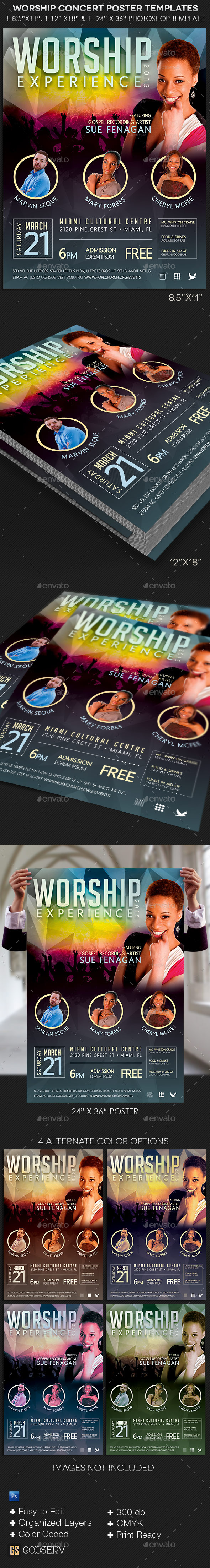 GraphicRiver Worship Concert Poster Templates 10869820