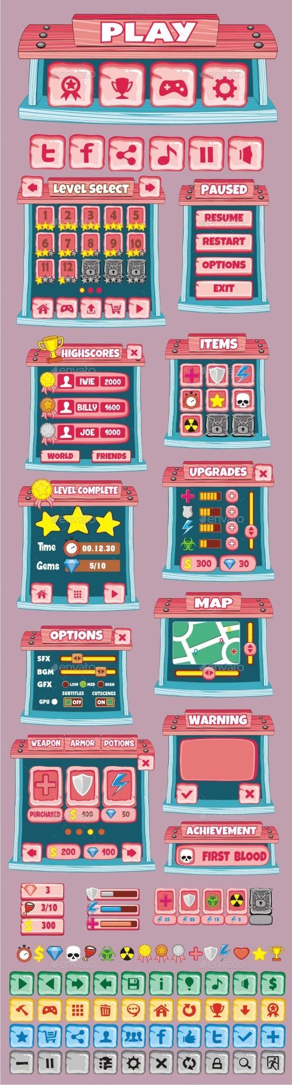 GraphicRiver cartoon game gui pack 24 10870033