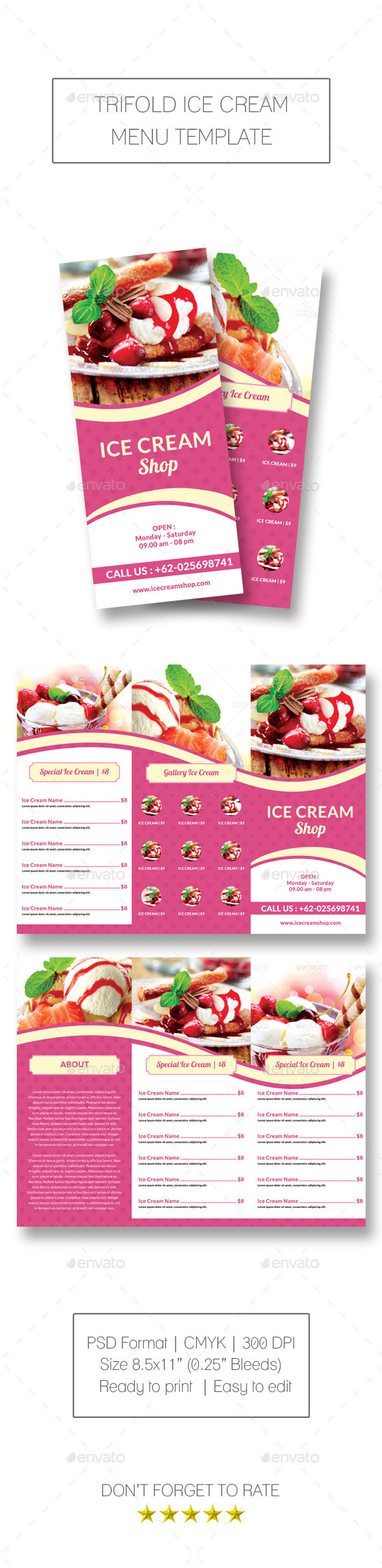 GraphicRiver Trifold Ice Cream Menu Template 10870043
