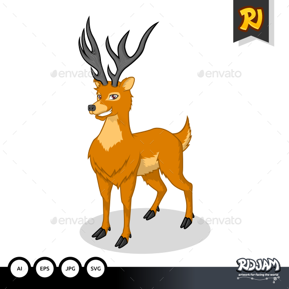 GraphicRiver Deer Cartoon 10870362