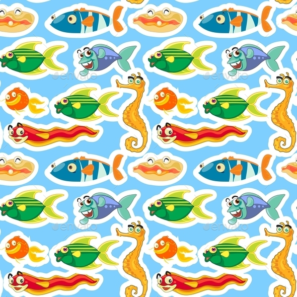 GraphicRiver Sea Animals Pattern 10870510