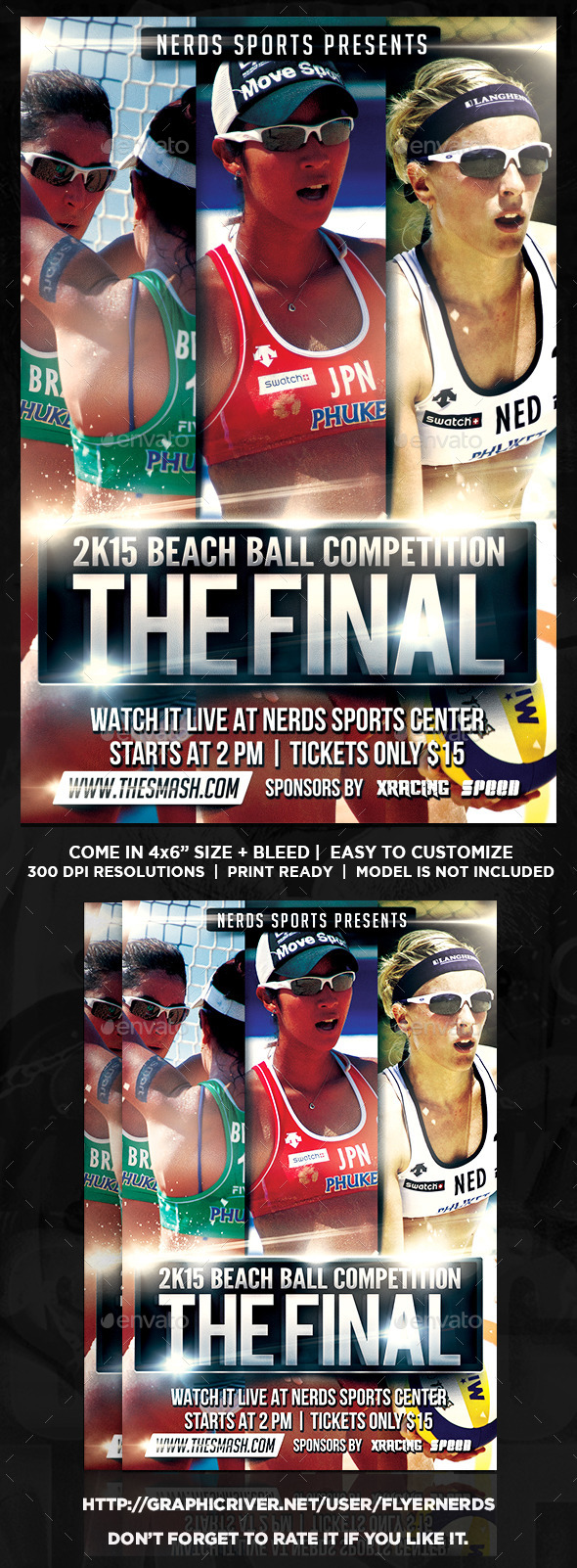 GraphicRiver 2K15 Beach Ball Competion Sports Flyer 10870652
