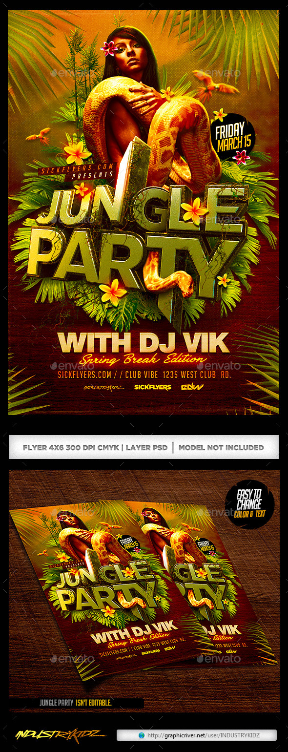 GraphicRiver Jungle Party Flyer 10870689
