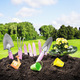tools garden soil on nature background - PhotoDune Item for Sale