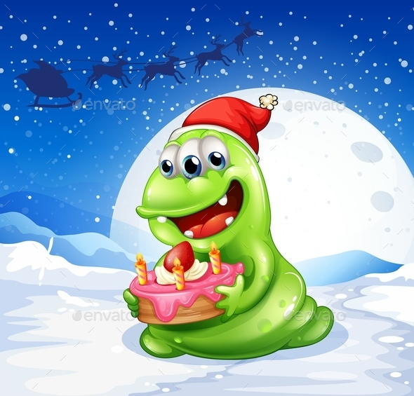 GraphicRiver Happy Monster with a Cake 10871122