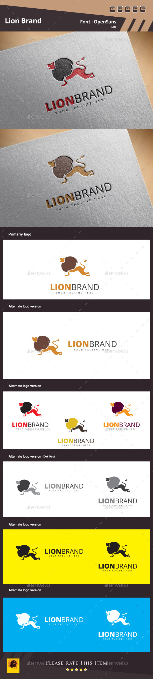 GraphicRiver Lion Brand Logo Template 10871516