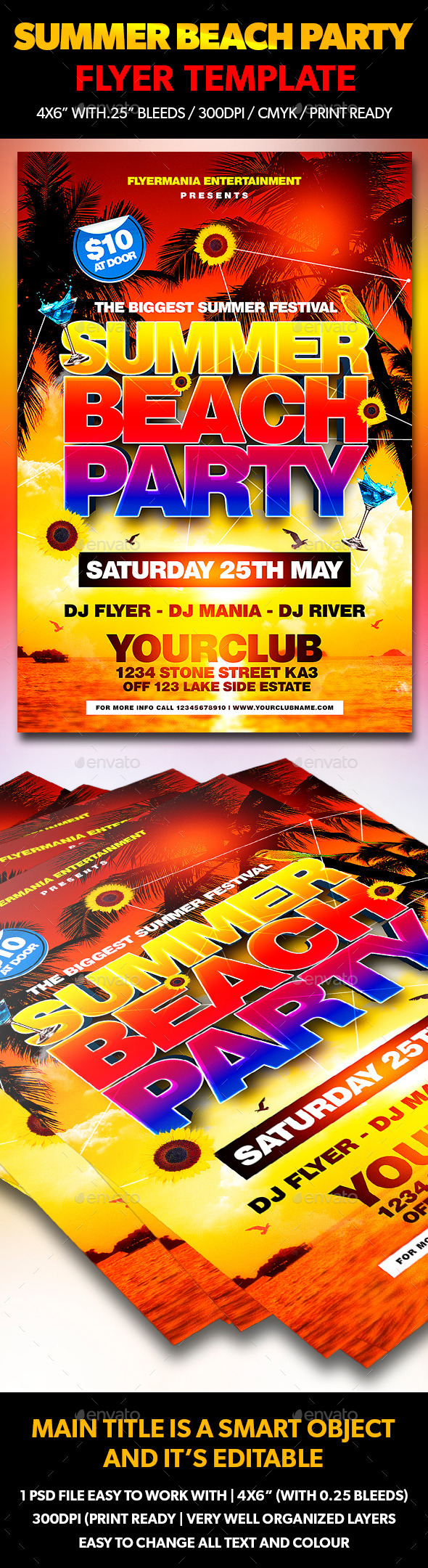 GraphicRiver Summer Beach Party Flyer Template 10872661