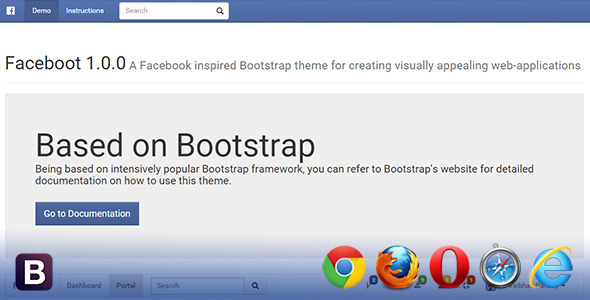 CodeCanyon Faceboot Clean & Edible Bootstrap Skin 10786875