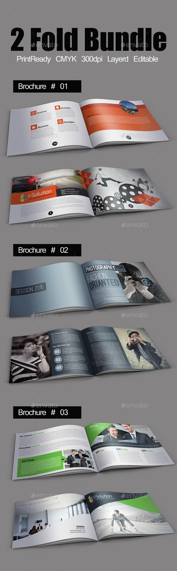 GraphicRiver Business Bifold Square Brochure Template Bundle 10873093