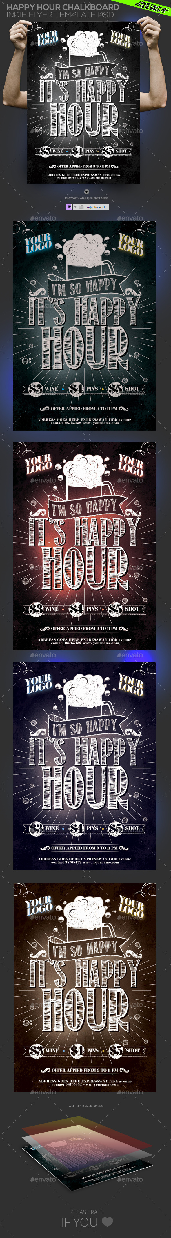 GraphicRiver Happy Hour Chalkboard Indie Template PSD 10873203