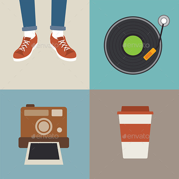 GraphicRiver Hipster Element Flat Design 10873265