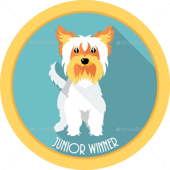 GraphicRiver Medal Yorkshire Terrier Junior Winner Dog 10873318