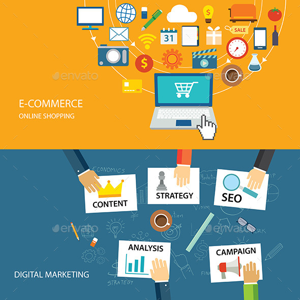 GraphicRiver Digital Marketing and E-commerce Flat Design 10873367