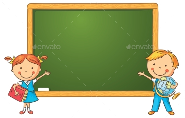 GraphicRiver Cartoon Schoolchildren at the Blackboard 10873468