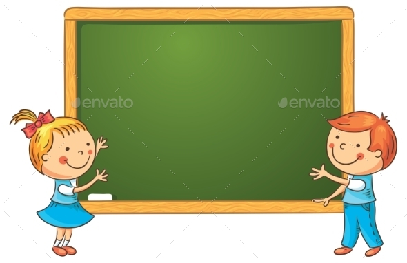 GraphicRiver Cartoon Schoolchildren at the Blackboard 10873471