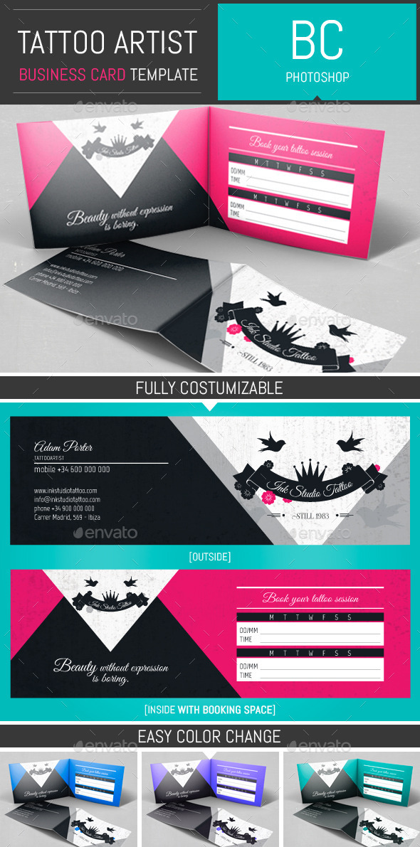 GraphicRiver Tattoo Artist Folded Business Card Template 10873502