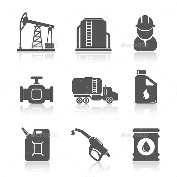 GraphicRiver Oil Industry Petroleum Processing Icons Set 10873990