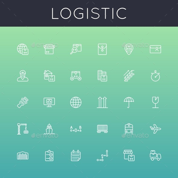 GraphicRiver Vector Logistic Line Icons 10874098