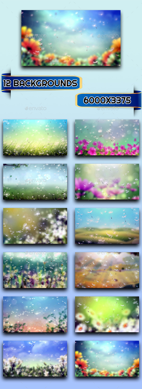 GraphicRiver 12 Dandelion Backgrounds 10874209
