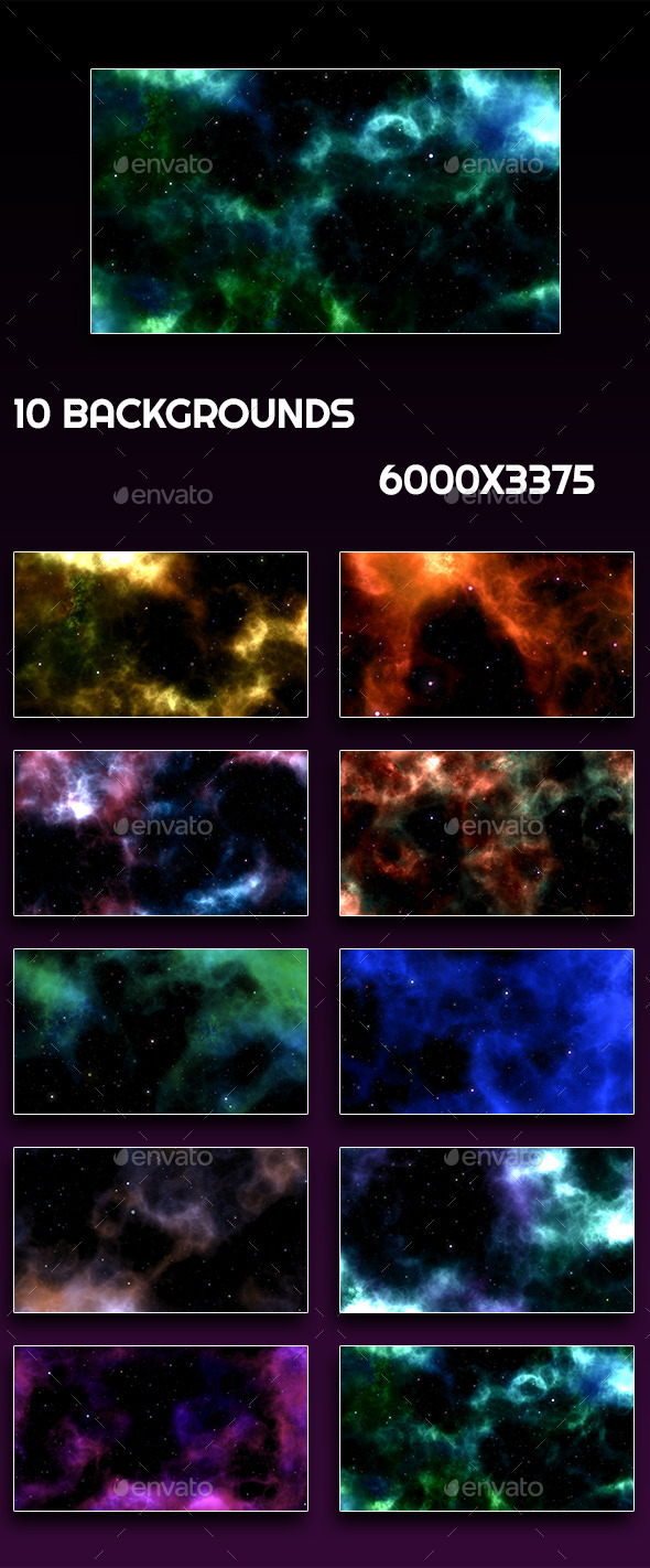 GraphicRiver 10 Space Backgrounds 10874405