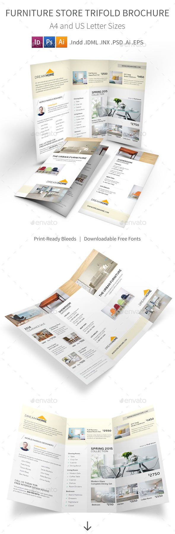 GraphicRiver Furniture Store Trifold Brochure 10874420