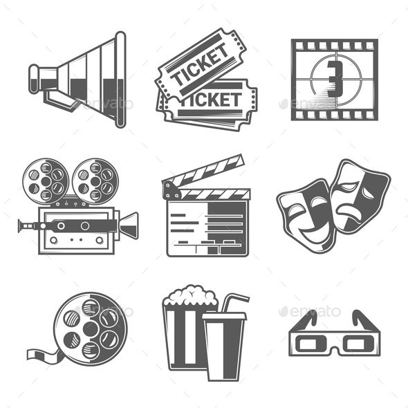 GraphicRiver Cinema Icons Set 10874446
