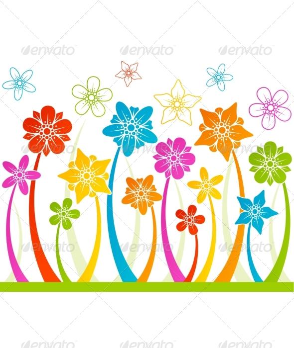 Floral horizontal seamless background