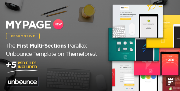 ThemeForest MyPage Multi-Sections Parallax Unbounce Template 10875693