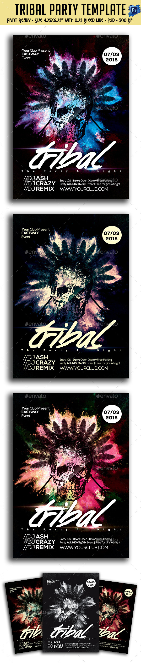 GraphicRiver Tribal Party Flyer 10875745