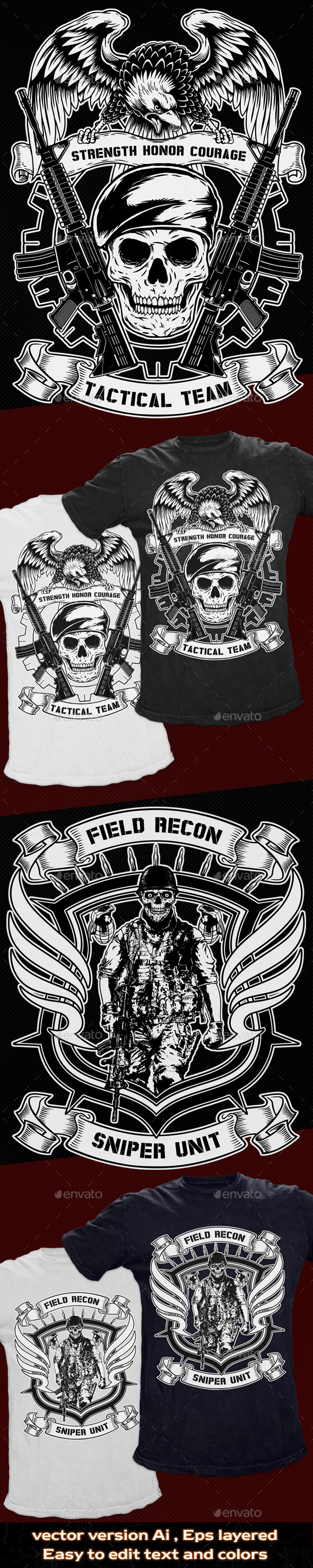 GraphicRiver 2 T-Shirt Template Military Theme 10875824
