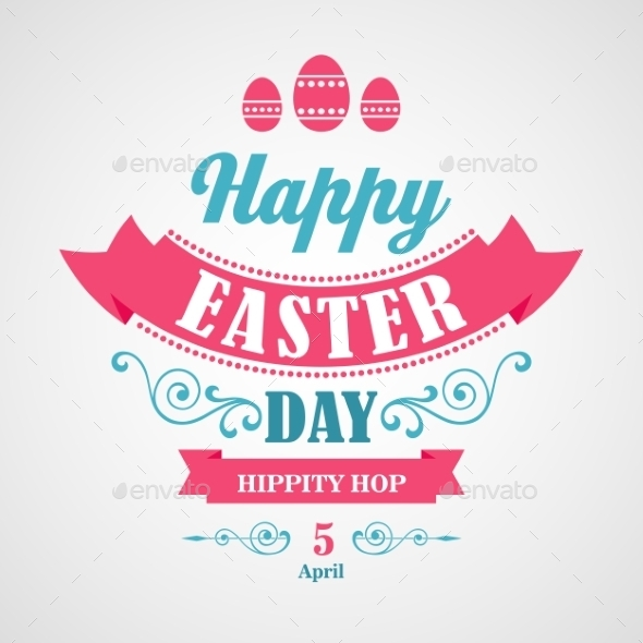 GraphicRiver Happy Easter Typographical Background 10876057