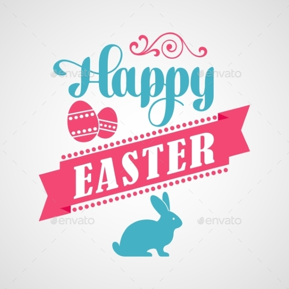 GraphicRiver Happy Easter Typographical Background 10876059
