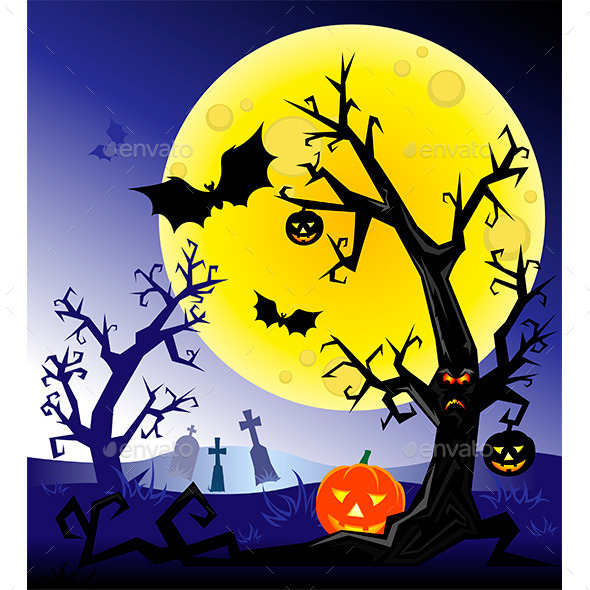 GraphicRiver Halloween Night Background 10876090