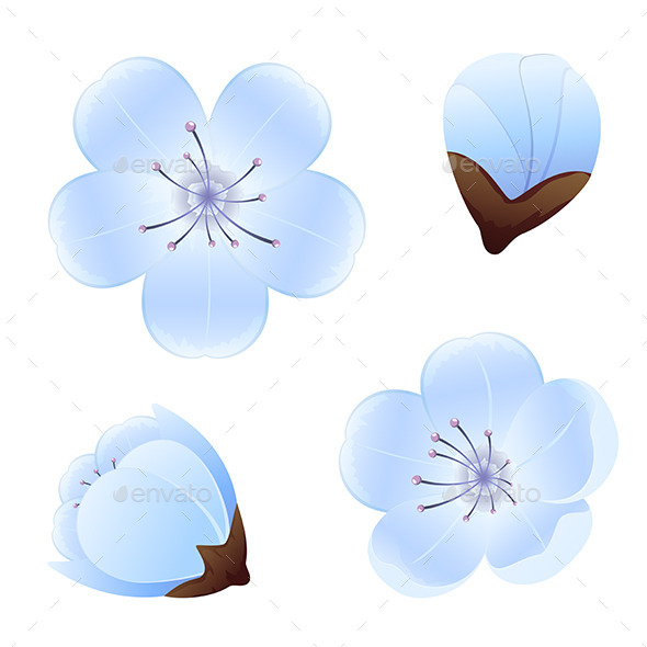 GraphicRiver Blue Flowers 10876094