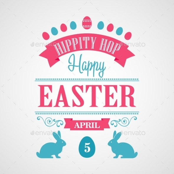 GraphicRiver Happy Easter Typographical Background 10876108