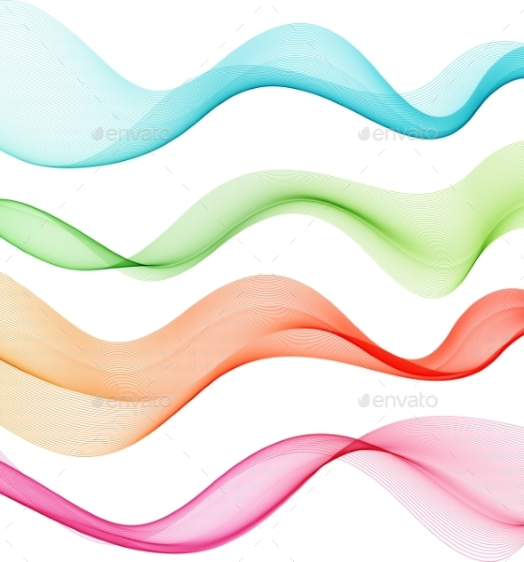 GraphicRiver Set of Color Transparent Smoke Waves 10876339