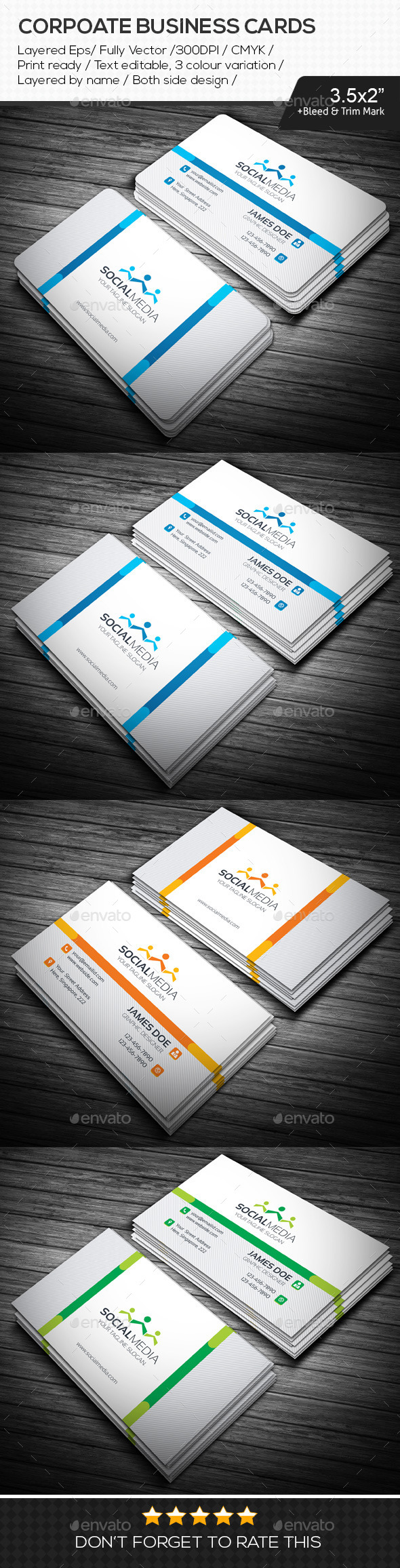 GraphicRiver Social Media Corporate Business Cards 10876465