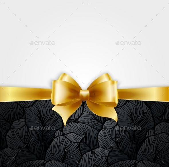 GraphicRiver Invitation Card with Gold Holiday Ribbon 10877295