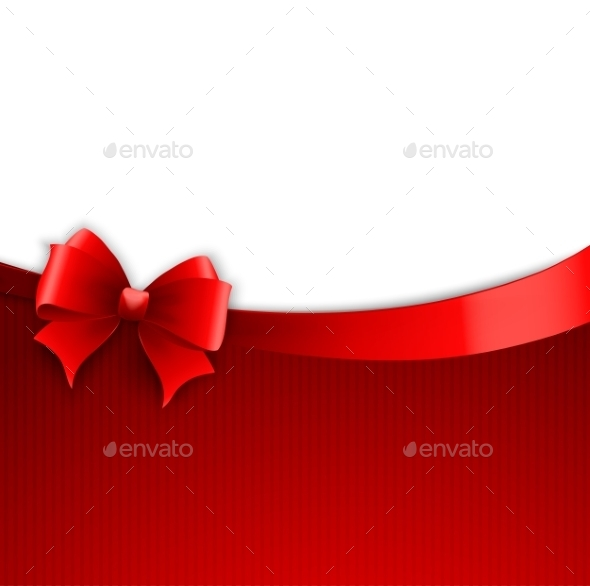 GraphicRiver Invitation Card with Red Holiday Ribbon and Bow 10877301