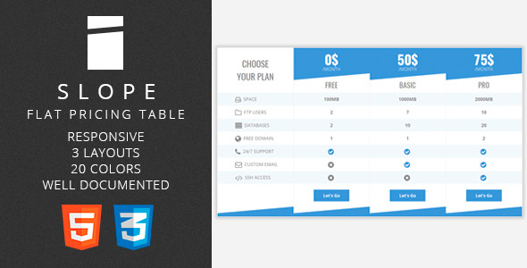 CodeCanyon Slope Flat Pricing Table 10870743