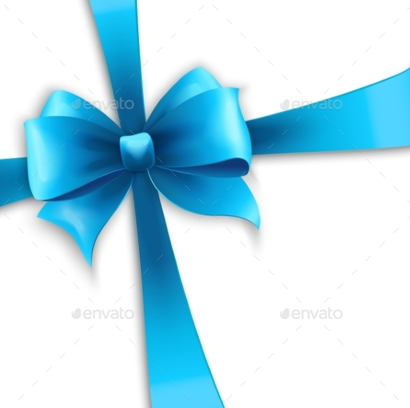 GraphicRiver Invitation Card with Blue Holiday Ribbon and Bow 10877317