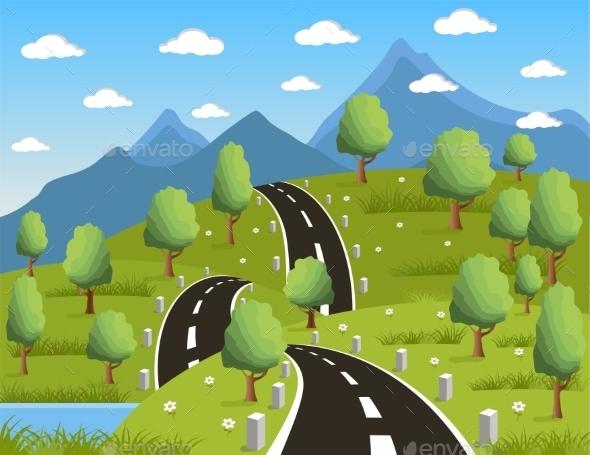 GraphicRiver Spring Mountain Landscape 10877372