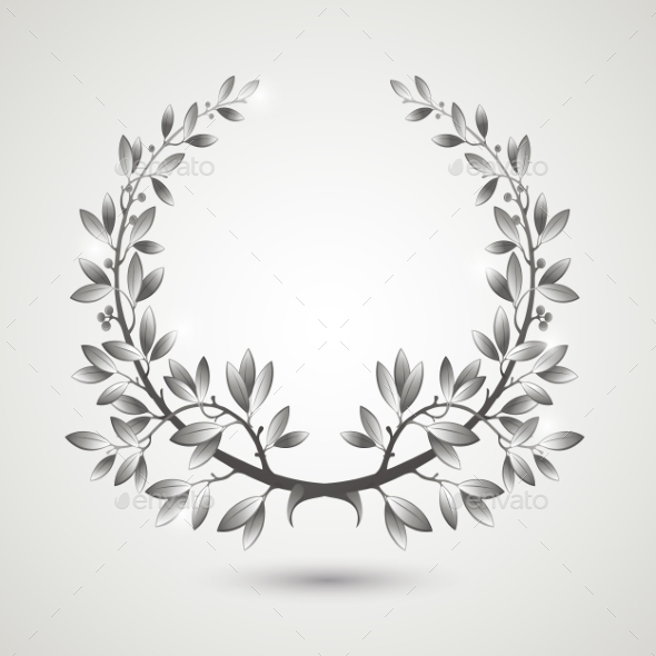 GraphicRiver Silver Laurel Wreath 10877511