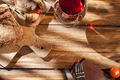 Top view of wine and bread on served wooden table - PhotoDune Item for Sale